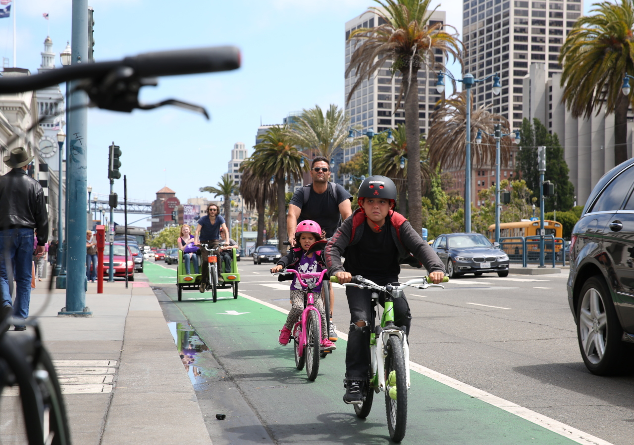 Bicylists along the Embarcadero in 2014.