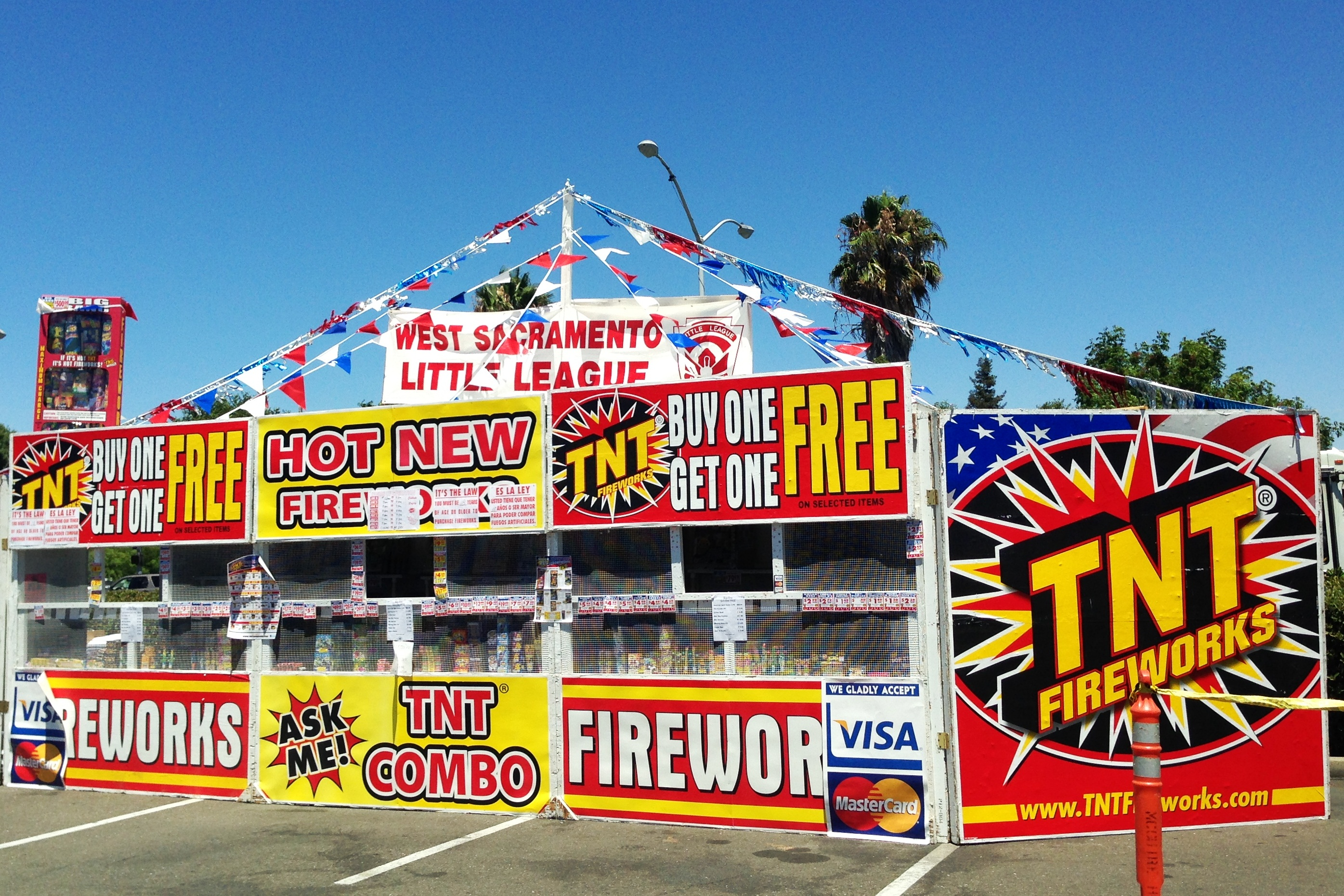"A ""safe and sane"" fireworks stand in West Sacramento. (Scott Detrow, KQED)"