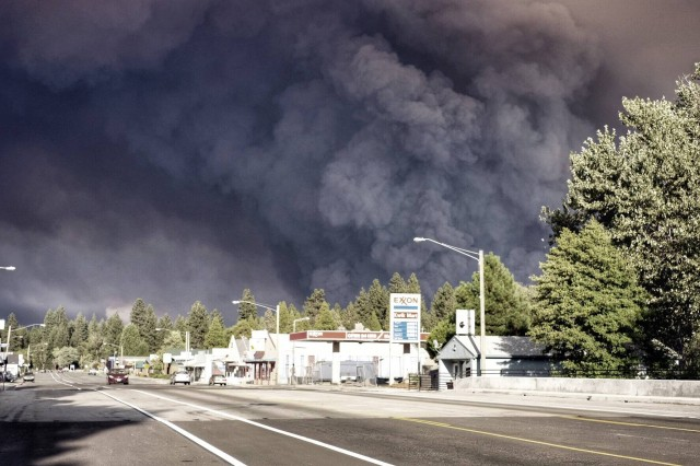 The sky over Burney, a town of about 3,500 northeast of Redding, as the nearby Eiler Fire tripled in size on Saturday. (Courtesy Ryan Albaugh)