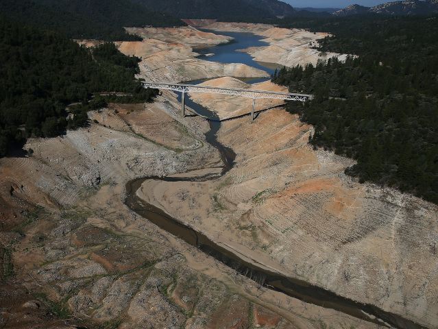 An arm of Lake Oroville, California's second-largest reservoir, pictured in August. (Justin Sullivan/Getty Images)