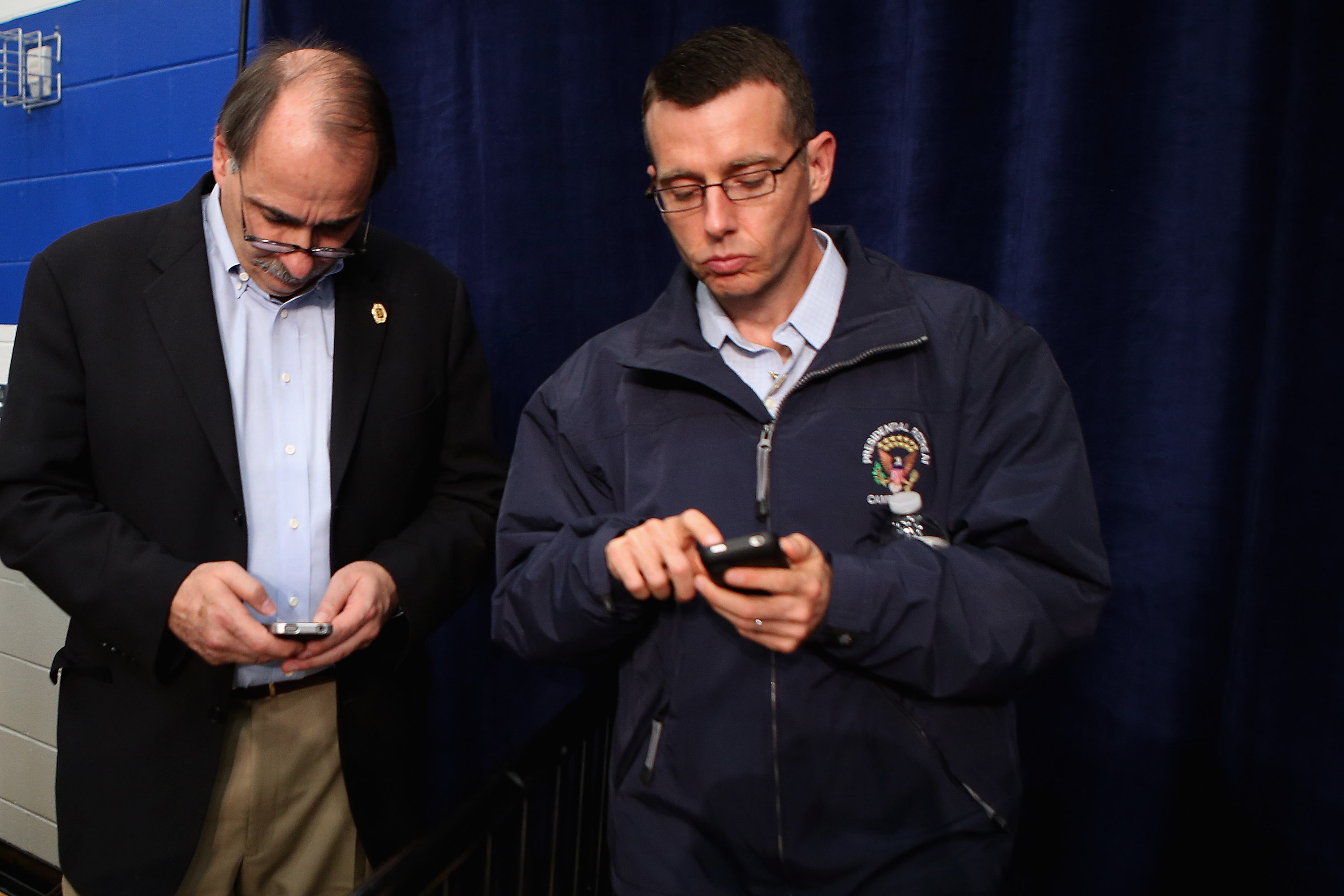 David Plouffe, right, during President Obama's 2012 campaign. (Chip Somodevilla/Getty Images)