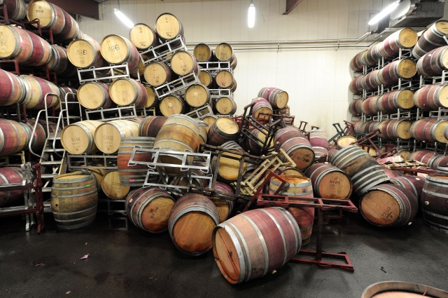 Barrels are strewn about inside the storage room of Bouchaine Vineyards in Napa, near the epicenter of Sunday's 6.0 earthquake. ( Josh Edelson/AFP-Getty Images)