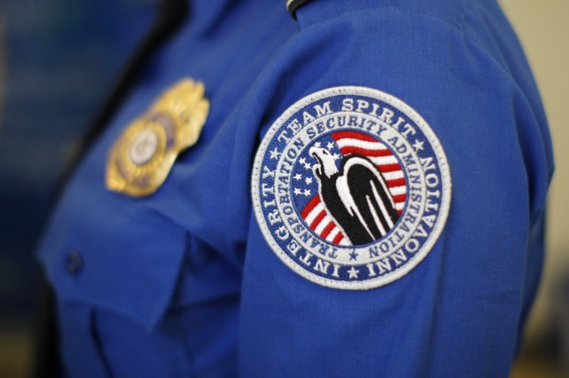 A TSA arm patch is seen at Los Angeles International Airport in February 2014. (David McNew/Getty Images)