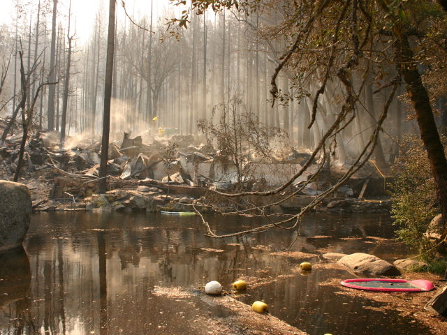 Damage at Berkeley Tuolumne Family Camp. (Grace Rubenstein/KQED)
