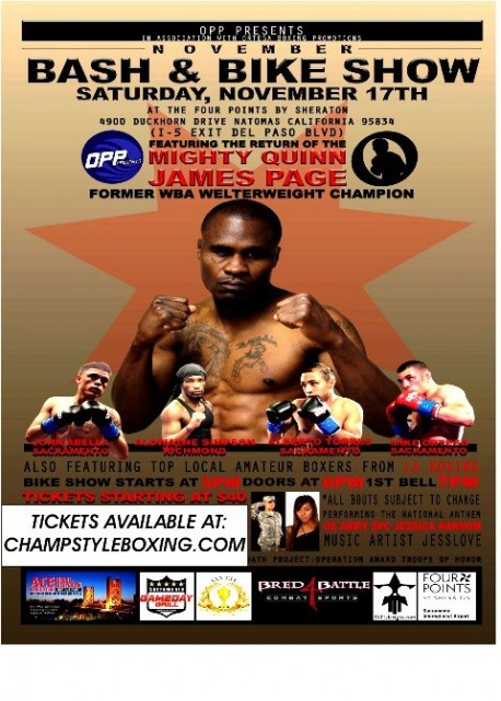 Poster advertising James Page's final fight, in November 2012. He was knocked out in the second round.