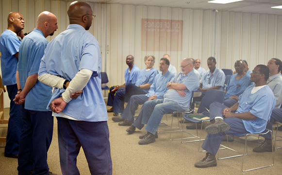 Inmates at Solano State Prison participate in classes as part of the Long-Term Offender Pilot Program. (Monica Lam/KQED)