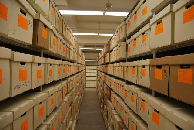 Gov. Pete Wilson's records are stored in more than 3,700 boxes in a climate-controlled Sacramento warehouse. (Scott Detrow/KQED)