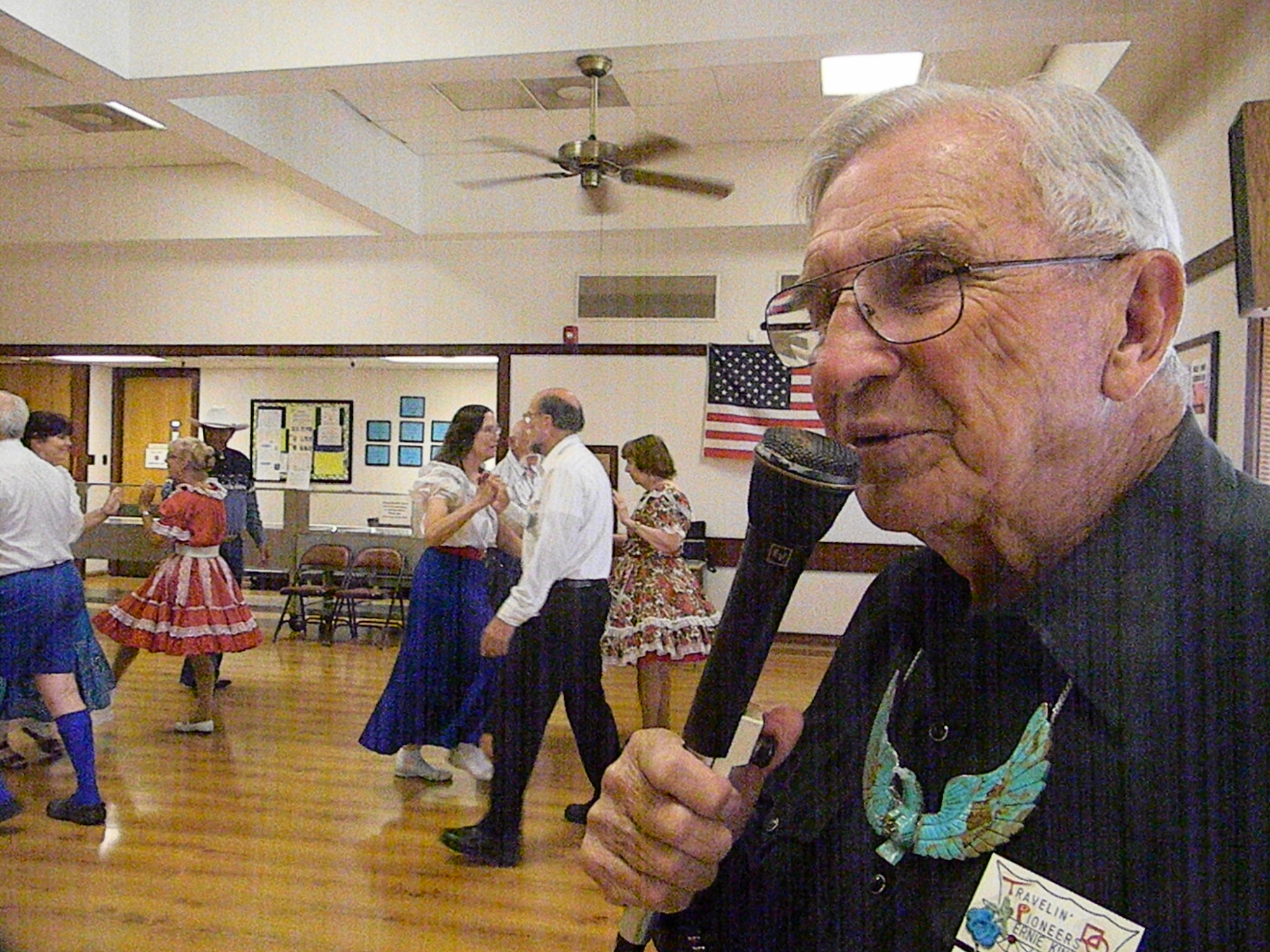 Ernie Kinney, the world's oldest active square dance caller, calls at the Clovis Senior Center every Thursday night. (Alice Daniel/KQED)