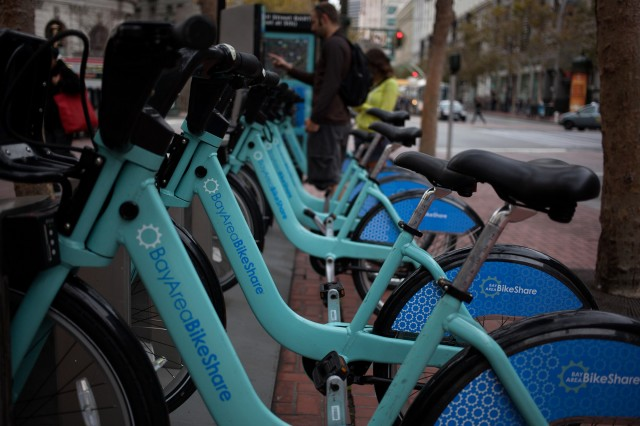 A bike-share station on Market Street is next to the Powell Street BART Station. (Mark Andrew Boyer)