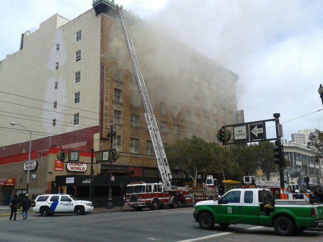 A three-alarm fire Monday damaged the shuttered Renoir Hotel in San Francisco's Mid-Market area. (Scott Morris/Bay City News)