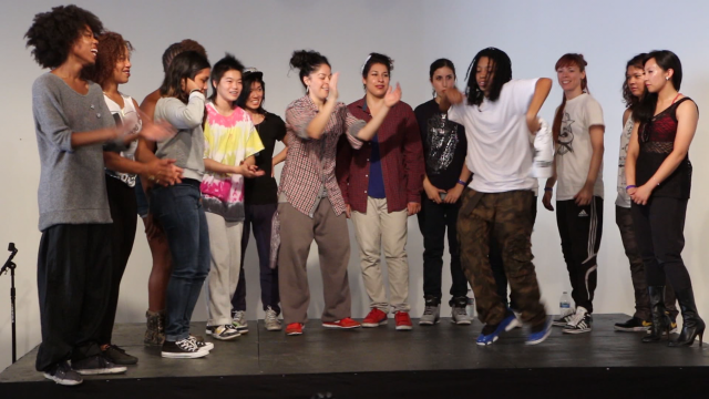 Sixteen women competed for $500 at an all-female, all-styles dance battle in Oakland. (Jeremy Raff/KQED)