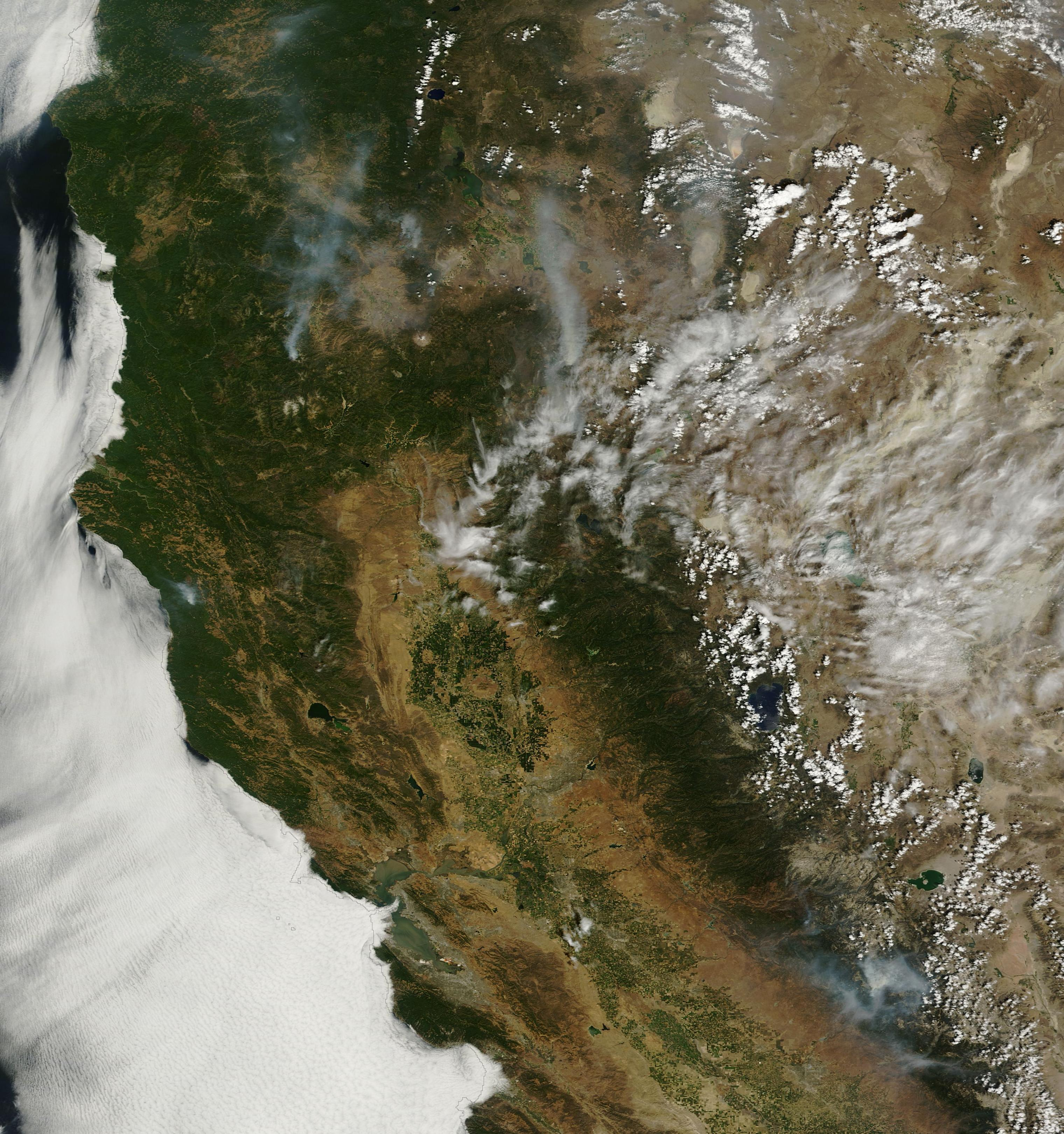 Aug. 1, 2014, image of California from NASA's Terra Earth Observing System satellite.