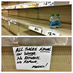 Don Quijote Japanese Market in Honolulu has been cleaned out by hurricane hoarders. (Photo by Molly Solomon)