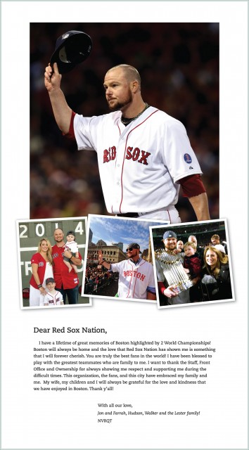 The full-page ad that pitcher Jon Lester bought to thank fans in Boston.