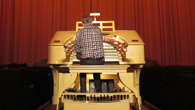Hegarty has been playing organ at the Castro Theatre for 36 years. (Olivia Allen-Price/KQED)