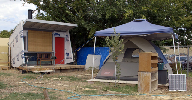 There are around ten residents living at Fresno's Dakota EcoGarden. (Adam Grossberg/KQED)