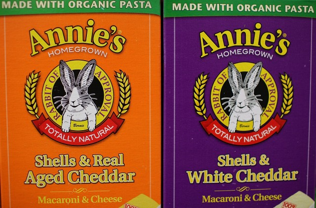 Boxes of Annie's shell pasta are seen displayed on a shelf at Berkeley Bowl on March 28, 2012 in Berkeley. (Justin Sullivan/Getty Images)