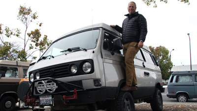 Lance Larsen has brought his 1991 Westfalia Syncro to the Buslab for years. (Alejandro Rosas/KQED)