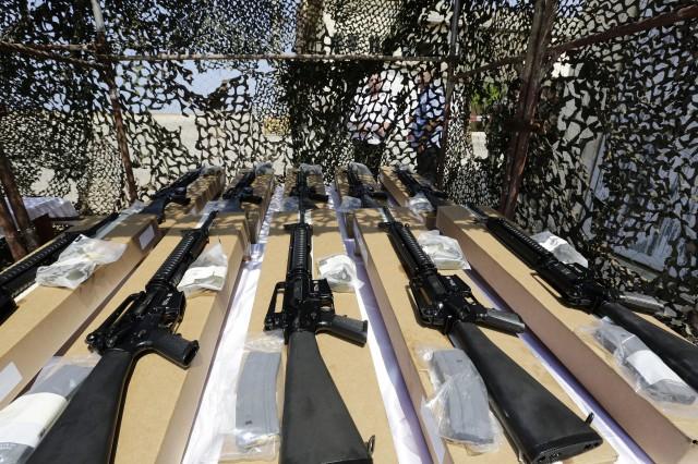 US army M16 riffles. (Anwar Amro/AFP/Getty Images)