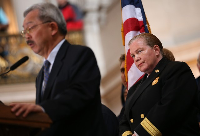 San Francisco Fire Chief Joanne Hayes-White with Mayor Ed Lee at a City Hall ceremony in March. (Justin Sullivan/Getty Images)