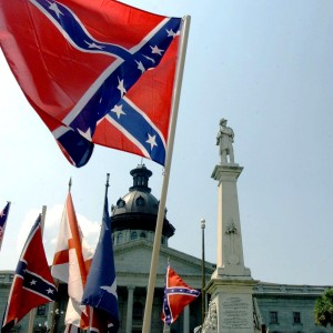 The Confederate battle flag waves at a 2000 protest at the South Carolina state Capitol in Columbia. (Erik Perel/AFP)