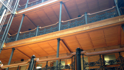 Ornate ironwork in the atrium of the Bradbury Building. (Steven Cuevas/KQED)