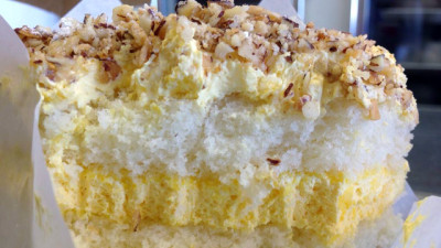 A slice of real-deal San Jose burnt almond cake. (Rachael Myrow/KQED)