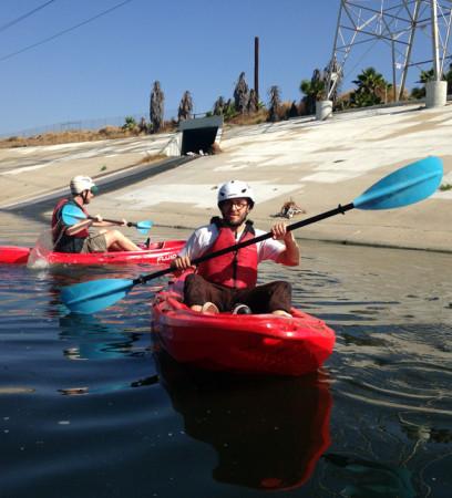Reporter Avishay Artsy shows off his newfound kayaking skills. (Avishay Artsy/KQED)