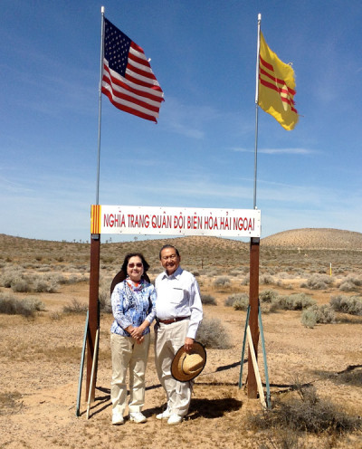 Kim Huynh and Dr. Chinh Huynh at the site of the Overseas Bien Hoa Veterans Cemetery in San Bernardino County. (Ngoc Nguyen/KQED)