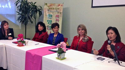 RNC co-chair Sharon Day (second from right) holds a community meeting with local Republican politicians at a Korean megachurch Grace Ministries International in Fullerton, CA. (Josie Huang/KQED)