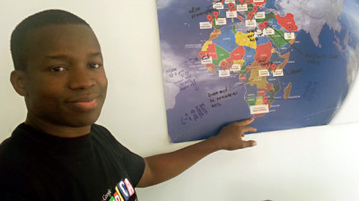 Tidjane Deme, 40, is the founder of Google's office in Dakar. While Google Maps doesn't work in the city, Deme says all of Africa will soon be connected. (Aarti Shahani/KQED)