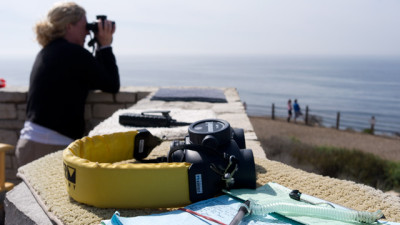 A whale census volunteer scans the water for gray whales near Palos Verdes. (Marcus Teply/KQED)