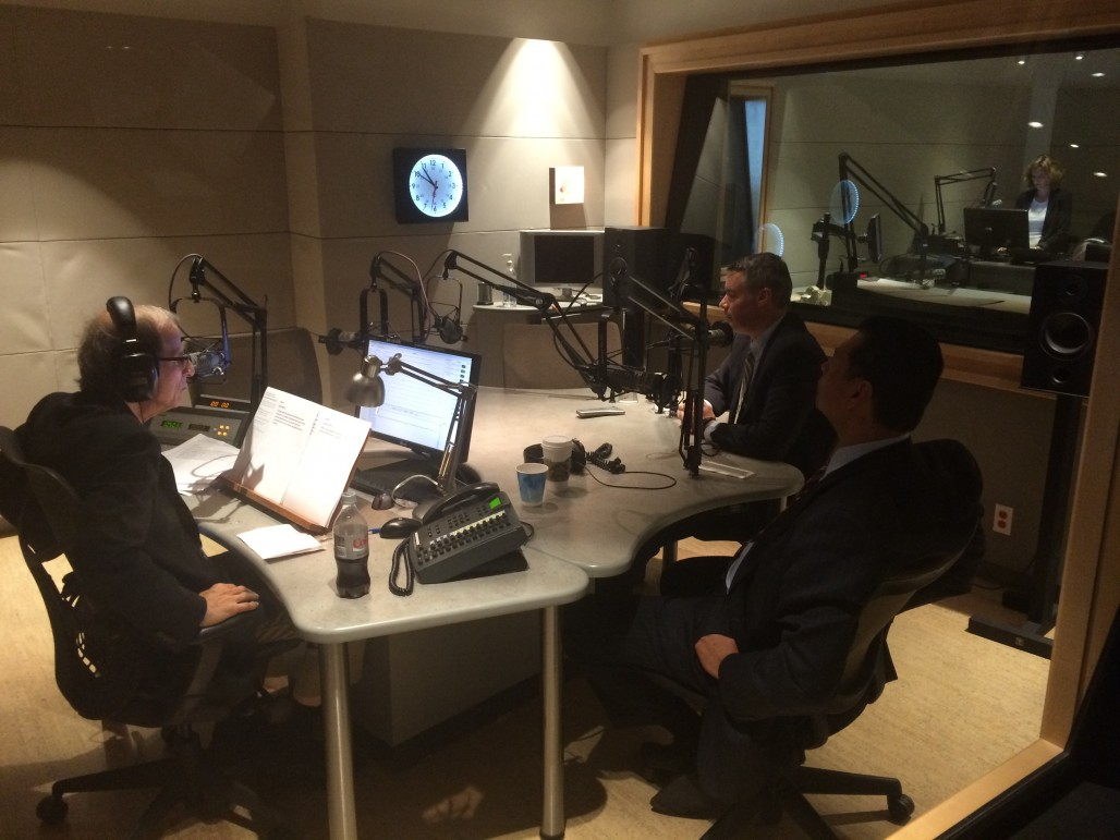 \Secretary of State candidates, Democrat Alex Padilla (left) and Republican Pete Peterson (right), speak with KQED's Michael Krasny on Sept. 22. (John Myers/KQED)