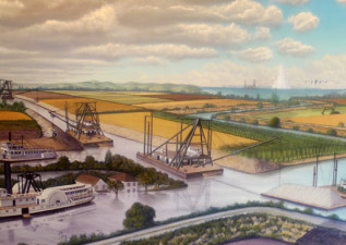 Inside the Dutra Museum of Dredging, a mural fills one wall, depicting the Delta's history and its physical transformation. (Lisa Morehouse/KQED)