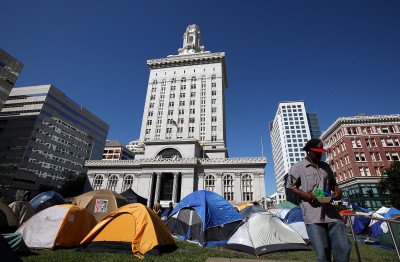 Hundreds of Occupy Oakland activists were living in tents in front of Oakland City Hall in October 2011. (Justin Sullivan/Getty Images)