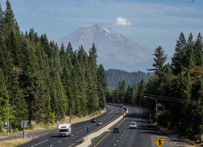 Mount Shasta as it appeared on a hazy day in late August 2014. (Dan Brekke/KQED)