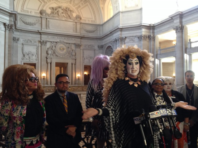 Drag queen Sister Roma says Facebook should change its policy that bans profiles with fake names. (Isabel Angell/KQED)
