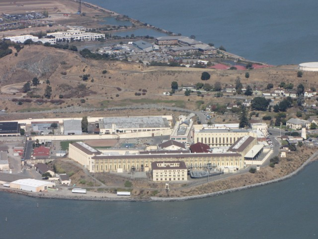 The state's only Death Row for male inmates in California is located at San Quentin State Prison. (Molly Samuel/KQED with aerial support from LightHawk)