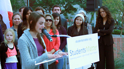 High school senior Kate Elliot speaks on behalf of her fellow plaintiffs about how poor teachers hurt students. (Noah Nelson/Youth Radio)