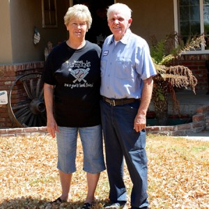 The front lawn of Stanislaus County residents Pam and Lawrence Vieira is dead because their well is running dry. (Sasha Khokha/KQED)