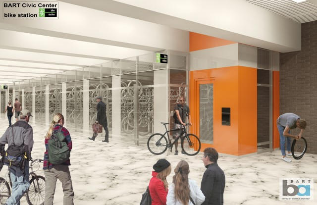 The new Civic Center bike station will offer secure bike parking. (Image: BART)