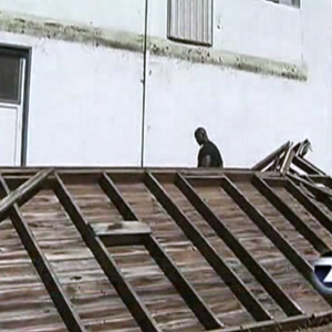 Screen grab of KTVU-Channel 2 video showing deck that collapsed in Oakland last weekend.