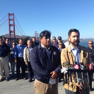 Golden Gate Bridge union leaders at a September 2014 press conference to announce a work stoppage Bus drivers announced a one-day strike for Friday, Oct. 17. (Isabel Angell/KQED)