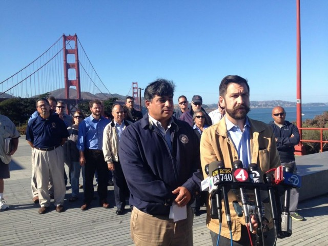 Golden Gate Bridge union leaders at a Monday afternoon press conference to announce a Tuesday job action. They say one union will walk out Tuesday but that bridge and transit operations should not be affected. (Isabel Angell/KQED)