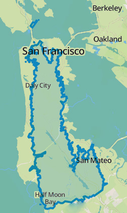 The Sept. 22 footprint of the King Fire overlaid on a map of the Peninsula and South Bay. (Dan Brekke/KQED)