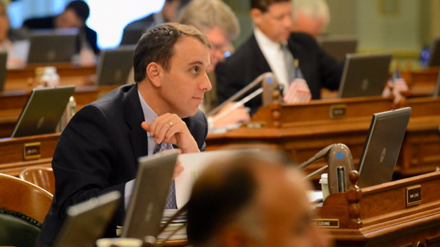 Assemblymember Marc Levine, who represents California's 10th Assembly District, on the floor of the State Assembly. (KQED Staff)
