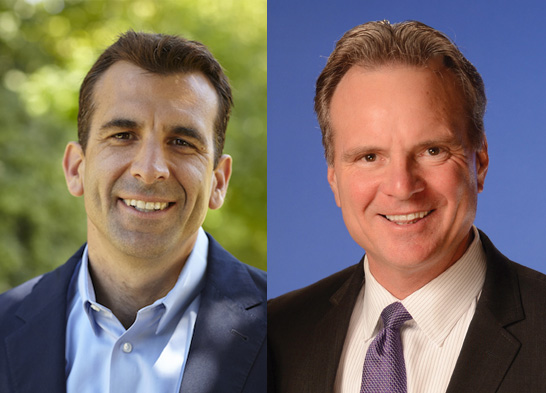 San Jose mayoral candidates Sam Liccardo, left, and Dave Cortese.