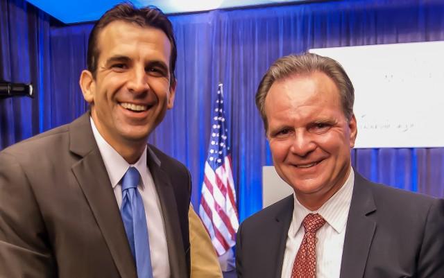 San Jose mayoral candidates Sam Liccardo (left) and Dave Cortese. (Michael Ridola/KQED)