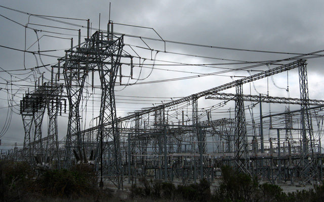 PG&E's Metcalf Transmission Substation near Hwy 101 in Coyote, southeast of San Jose. (Craig Miller/KQED)