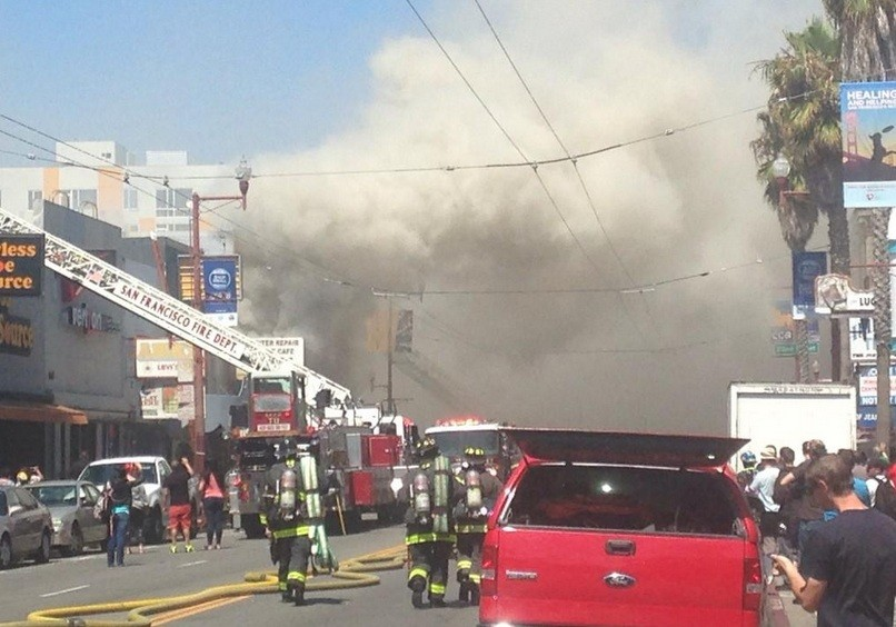 San Francisco Firefighters Battle Five-Alarm Mission District Blaze